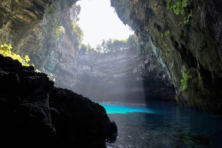 Sunlight Pouring Into Melissani Cave